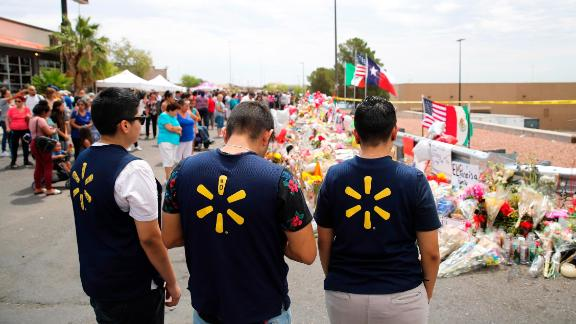 EL PASO, Aug. 7, 2019 -- People mourn for victims near the Walmart center where Saturday's massive shooting took place, in El Paso, Texas, the United States, Aug. 6, 2019. (Photo by Wang Ying/Xinhua via Getty) (Xinhua/Wang Ying via Getty Images)