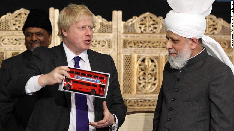 Boris Johnson meets members of the Baitul Fatuh Mosque during the National Peace Symposium in 2012, while he was London Mayor.