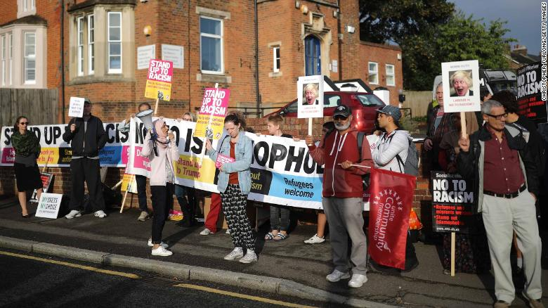 Protesters at an August 2018 demonstration in Uxbridge, England, following comments made by Boris Johnson about Muslim women wearing full-face veils.