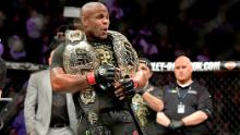 Cormier celebrates his victory over Derrick Lewis.