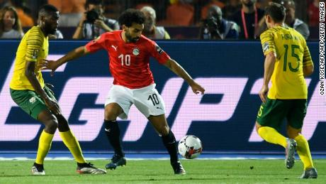 Egypt's forward Mohamed Salah (C) is pictured playing against South Africa in the Africa Cup of Nations.