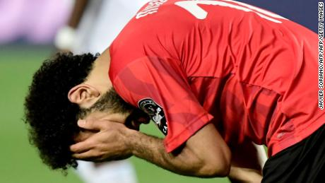 Salah reacts during the 2019 Africa Cup of Nations (CAN) football match between Egypt and DR Congo.