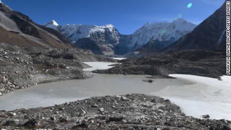 The Imja Glacier Lake in the Himalayas.