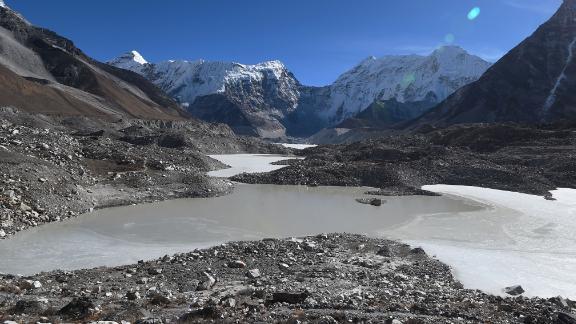 The Imja glacial lake in the Himalaya.