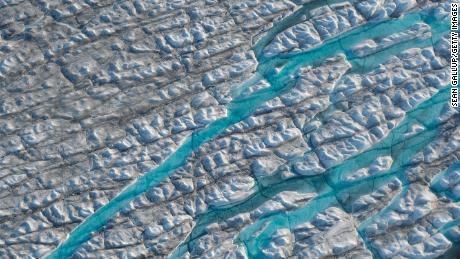 The Greenland Ice Sheet near the Sermeq Avangnardleq Glacier.