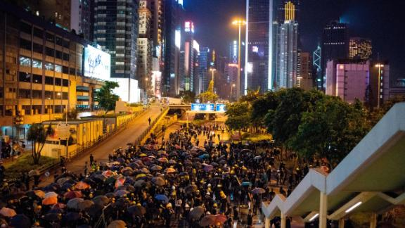 Protesters occupy a major highway in Hong Kong's Causeway Bay district on August 4.