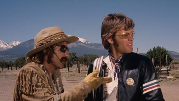 "Dennis Hopper and Peter Fonda in a scene from the classic ""Easy Rider."""