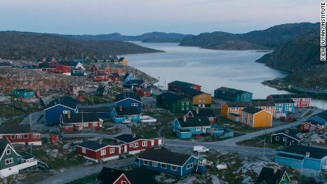 FOR USE WITH CNN PHOTOS STORY ONLY. Danish-influenced architecture dominates this village of Aasiaat in North Greenland. Today's Greenlanders are a mixture of its original Inuit indigenous peoples and Danes. When Greenland was granted 'home rule' in 1979, its official language became Kalallisut, or West Greenlandic.