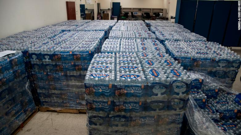 Residents can pick up bottled water from the Vince Lombardi community center in Newark.