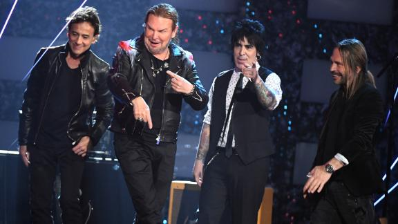 Juan Calleros, Fher Olvera, Alex Gonzalez, and Sergio Vallin of Maná onstage during the Latin Grammy Awards in November. (Photo by Ethan Miller/Getty Images for LARAS)