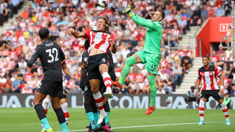 Adrian saves from Jannik Vestergaard of Southampton.