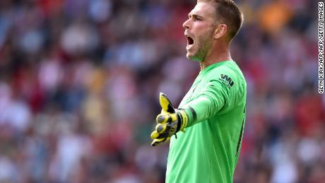 Liverpool's Spanish goalkeeper Adrian gestures during the English Premier League football match between Southampton and Liverpool at St Mary's Stadium in Southampton, southern England on August 17, 2019. (Photo by Glyn KIRK / AFP) /