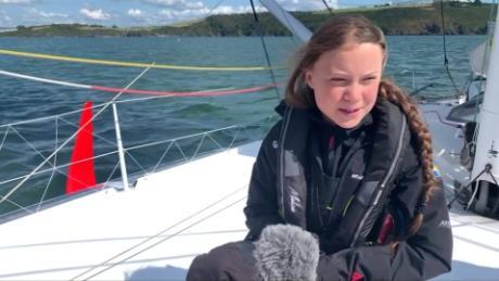 Greta Thunberg sails across Atlantic in zero-emissions yacht