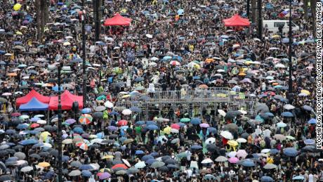 Demonstrators gather at Victoria Park during a protest in the Causeway Bay district of Hong Kong, China, on Sunday, Aug. 18, 2019. Hong Kong is bracing for another large anti-government protest on Sunday after demonstrations the day before ended without the use of tear gas by police in what had been a recurrence in recent weeks. Photographer: Kyle Lam/Bloomberg via Getty Images
