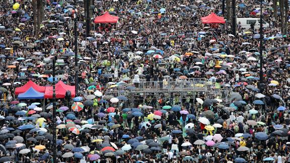 Demonstrators gather at Victoria Park during a protest in the Causeway Bay district of Hong Kong, China, on Sunday, Aug. 18, 2019.