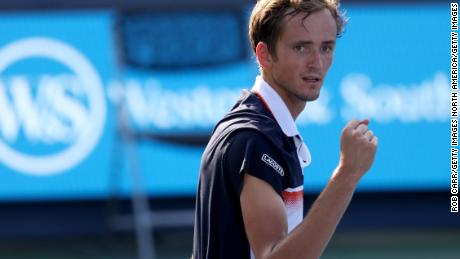 Daniil Medvedev of Russia celebrates as he clinches match point against Belgium's David Goffin in the Cincinnati Masters final.