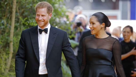 """The Duke and Duchess of Sussex arrive at the European premiere of the film """"The Lion King"""" in London on July 14."""