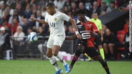 Eduardo Camavinga vies for the ball with Kylian Mbappe during Rennes' surprise victory.
