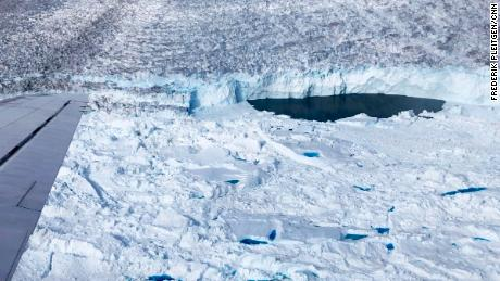 "Ice-free ""lake"" at the front of Helheim glacier seen from a DC-3 plane."