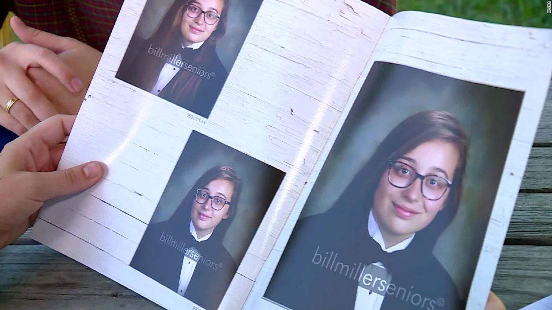 A high school student wore a tuxedo for her senior portrait. The photo wasn't published in her yearbook