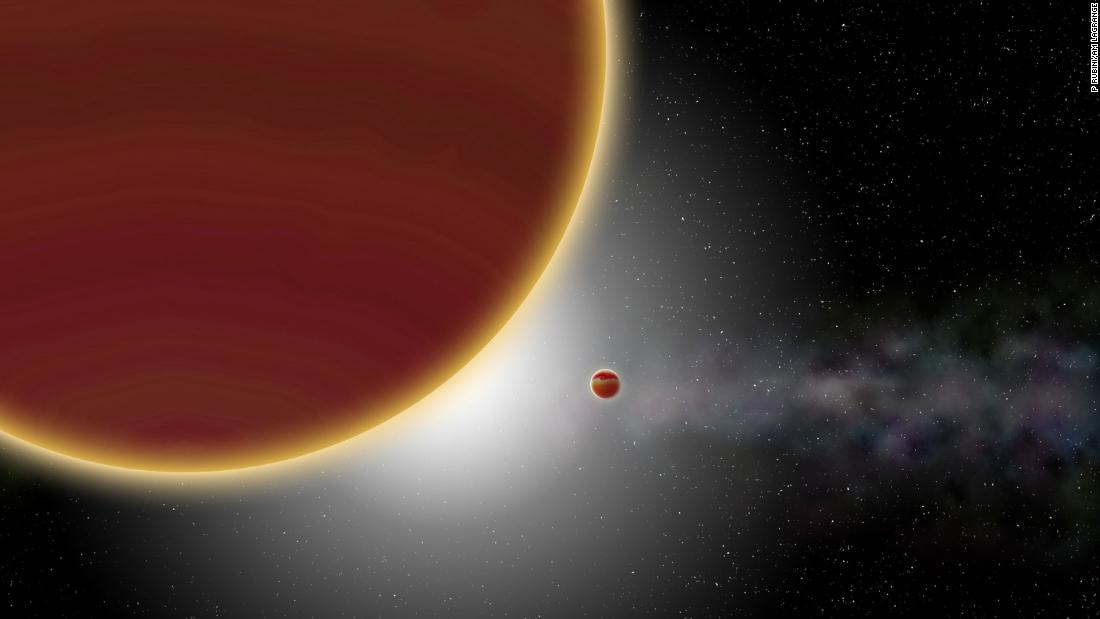 At least two giant planets, aged 20 million years at most, orbit the Beta Pictoris star. A disk of dust and gas surrounding the star can be seen in the background.