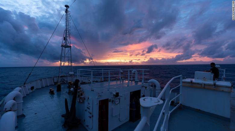 Sunset aboard the Esperanza, a Greenpeace vessel scouring the Sargasso Sea for microplastic samples.