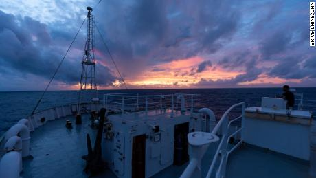 The sunset aboard Esperanza, a Greenpeace vessel that strikes the Sargasso Sea for microplastic samples.