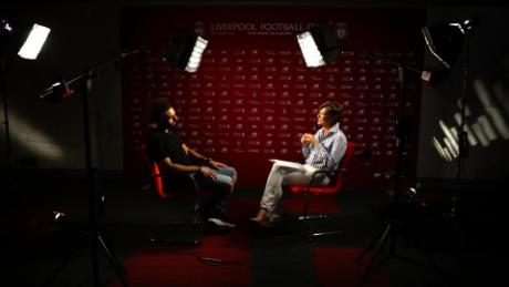 Salah is interviewed by Becky Anderson for Connect the World.