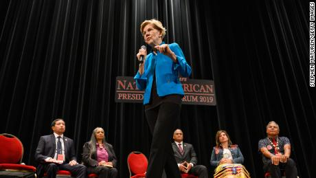 Democratic presidential candidate Sen. Elizabeth Warren (D-MA) speaks at the Frank LaMere Native American Presidential Forum on August 19, 2019 in Sioux City, Iowa. Warren was introduced by Rep. Deb Haaland (D-NM) who she has co-sponsored legislation with to help the Native American community.