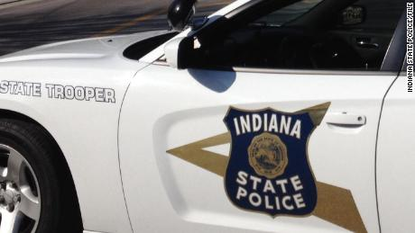 An Indiana state police patrol car.