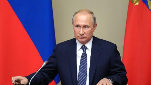"""Russian President Vladimir Putin chairs a Security Council meeting at the Novo-Ogaryovo residence outside Moscow on August 5, 2019. - President Vladimir Putin on August 5, 2019 said Russia would be """"forced"""" to develop new missiles if the US does the same, after Washington pulled out of a Cold War-era nuclear arms deal last week. (Photo by Mikhail KLIMENTYEV / SPUTNIK / AFP)        (Photo credit should read MIKHAIL KLIMENTYEV/AFP/Getty Images)"""
