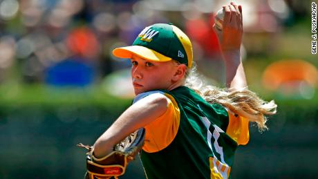 Minnesota's Maddy Freking pitches during the Little League World Series tournament.