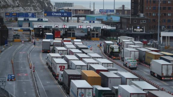 Lorries queue up at the port of Dover on the south coast of England on March 19, 2018. - Despite being the UK
