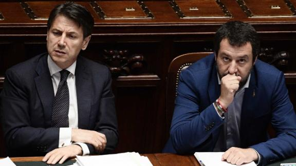 Italian premier Giuseppe Conte (L) and Italys Interior Minister and Deputy Prime Minister Matteo Salvini are seen at the Lower House, ahead of a confidence vote on the government program, in Rome on June 6, 2018. - Conte is set to address the Lower House for a confidence vote on his government programme later today, after winning the confidence vote at the Senate yesterday. (Photo by FILIPPO MONTEFORTE / AFP)        (Photo credit should read FILIPPO MONTEFORTE/AFP/Getty Images)