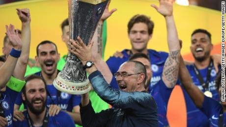 Maurizio Sarri celebrates with the Europa League Trophy following Chelsea's Europa League Final victory over Arsenal at Baku last season.