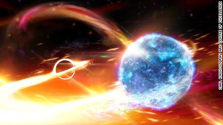 Black hole gobbles up neutron star, causing ripples in space and time