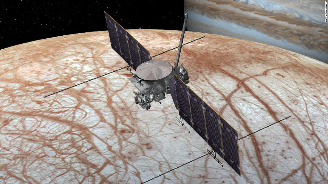 This is an artist's concept of the Europa Clipper spacecraft. The design is changing as the spacecraft is developed.