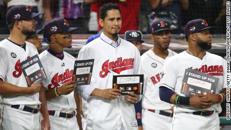 Carrasco participates in the Stand Up To Cancer during the 2019 MLB All-Star Game.