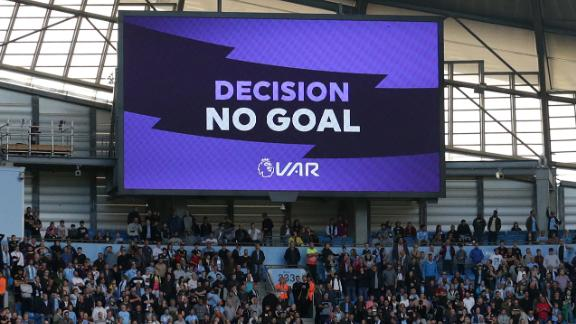"The big screen displays the ""no goal"" VAR decision to rule out what would have been Manchester City"