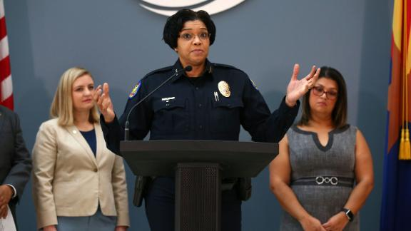 Phoenix Police Chief Jeri Williams discusses new policy and procedure to document when a police firearm is pointed in the direction of a person during a press conference on Aug. 19, 2019 at the Phoenix City Hall Atrium in Phoenix, Ariz. Phoenix Police Department