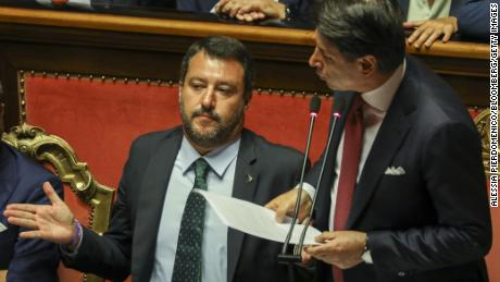 "Conte (right) called Salvini's (left) demand for fresh elections ""irresponsible."""