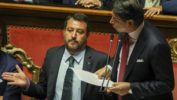 """Conte (right) called Salvini's (left) demand for fresh elections """"irresponsible."""""""