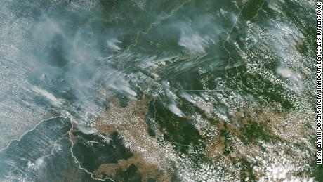 A NASA satellite image shows several fires burning in the Brazilian Amazon forest on 13 August 2019.