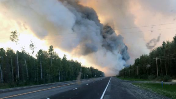 Smoke plumes from the McKinley Fire along the Parks Highway in Alaska.