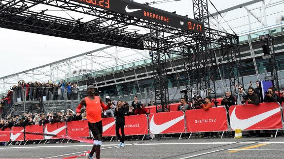 Kipchoge falls just short of running a sub-two hour marathon at the Nike Breaking2 event.