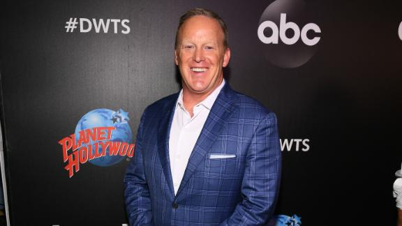 "NEW YORK, NY - AUGUST 21:  Former White House Press Secretary Sean Spicer arrives at the 2019 ""Dancing With The Stars"" Cast Reveal at Planet Hollywood Times Square on August 21, 2019 in New York City.  (Photo by Dave Kotinsky/Getty Images for Planet Hollywood International)"