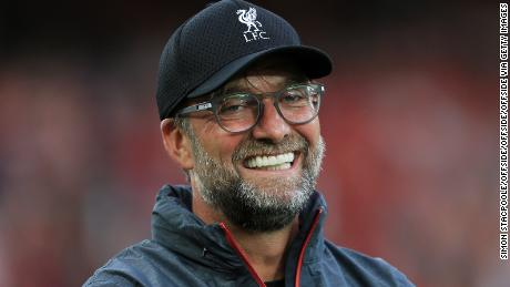 Liverpool manager Jurgen Klopp smiles during the Premier League match between Liverpool and Norwich City at Anfield.