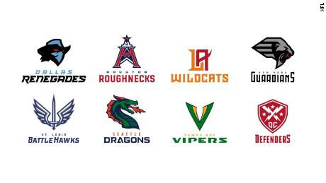 The names and logos of the eight XFL teams.