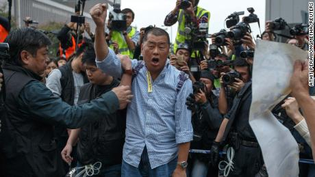 Jimmy Lai protested in 2014. The watch movement for democracy in Hong Kong.
