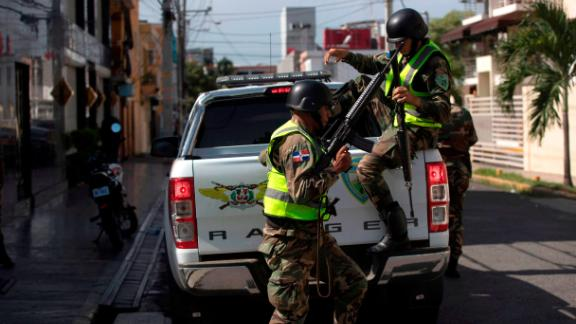 Members of the Calm City Task Force (CIUTRAN) brigade of the Dominican Army, take part in the dismantling operation of a drug trafficking network, in Santo Domingo, on August 20, 2019. - Among the dozens of people involved in the network are Dominican Major League former baseball players Octavio Dotel and Luis Castillo. The operation is the 'broadest and deepest' in the fight against drug trafficking in the country, Dominican Prosecutor Jean Alain Rodriguez said. (Photo by Erika SANTELICES / AFP)        (Photo credit should read ERIKA SANTELICES/AFP/Getty Images)